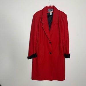 Vintage 90s red and black wool peacoat